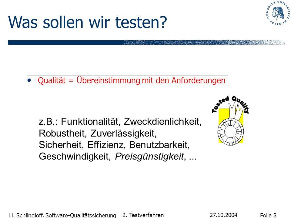 Was sollen wir testen Qualität = Übereinstimmung mit den Anforderungen. Tested Quality.