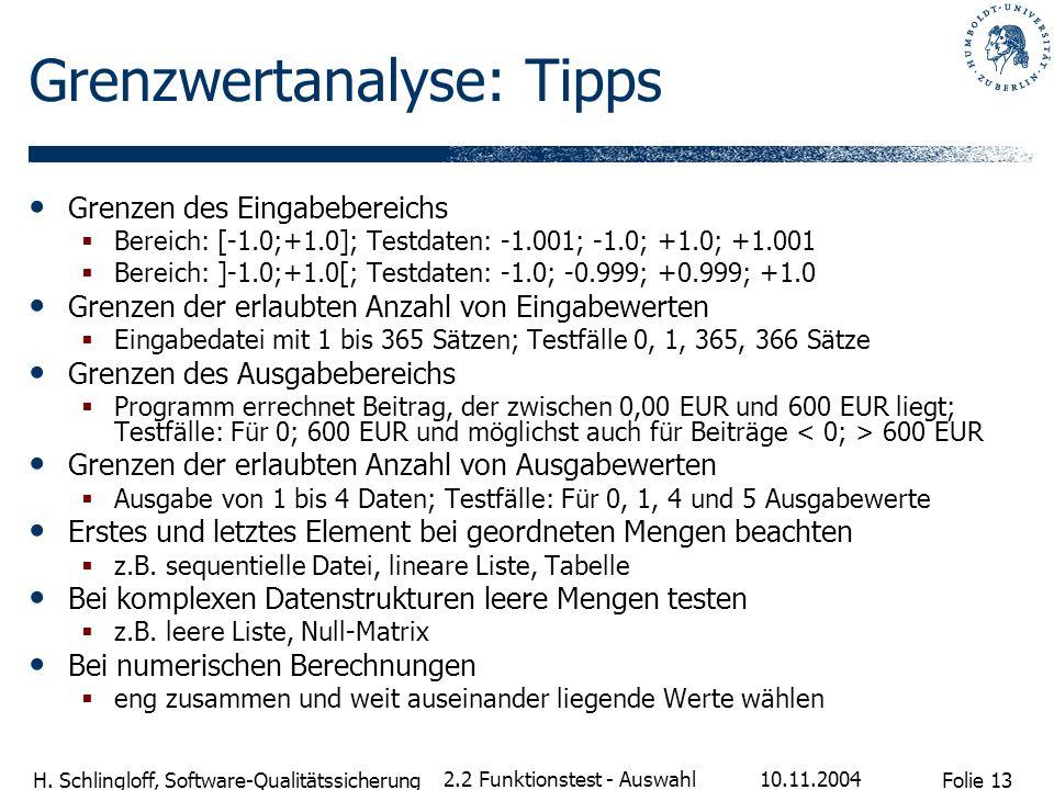 Grenzwertanalyse: Tipps