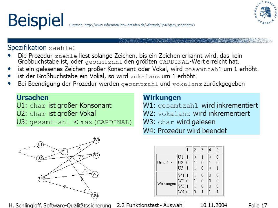 Beispiel (Fritzsch, http://www. informatik. htw-dresden