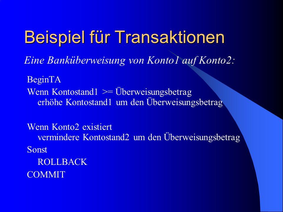 Beispiel für Transaktionen