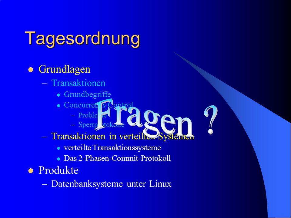 Tagesordnung Fragen Grundlagen Produkte Transaktionen