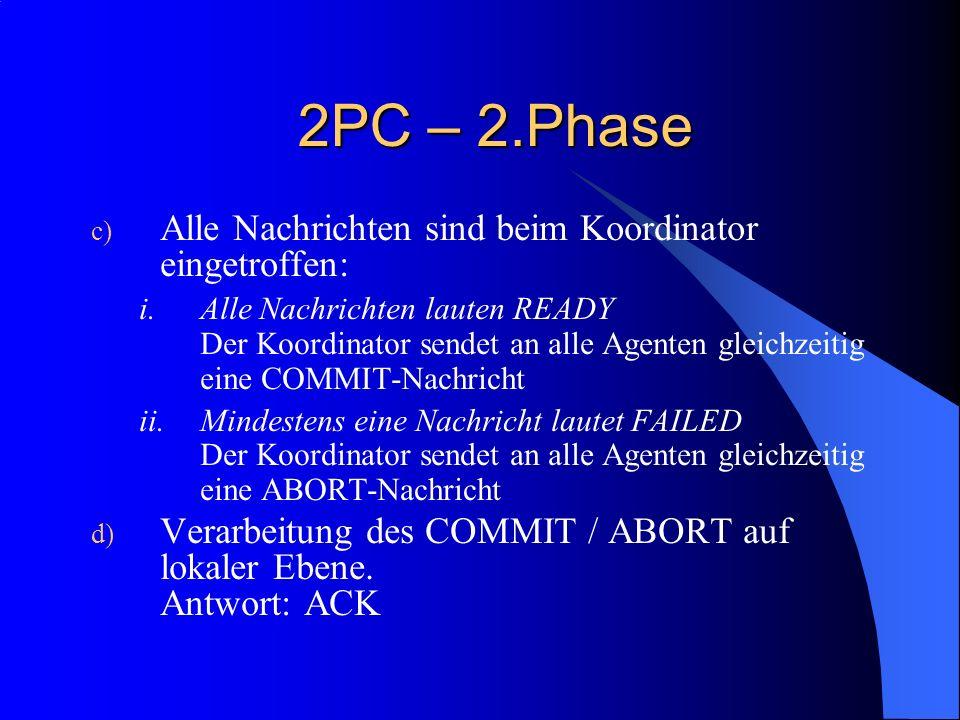 2PC – 2.Phase Alle Nachrichten sind beim Koordinator eingetroffen: