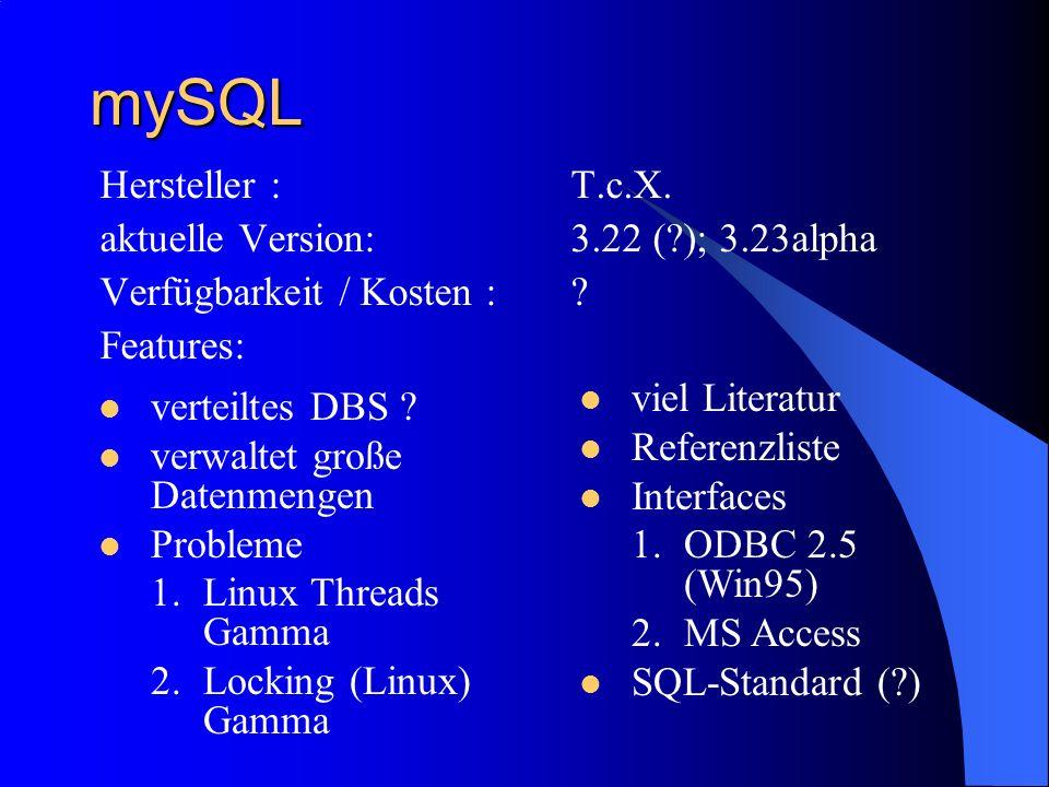 mySQL Hersteller : T.c.X. aktuelle Version: 3.22 ( ); 3.23alpha