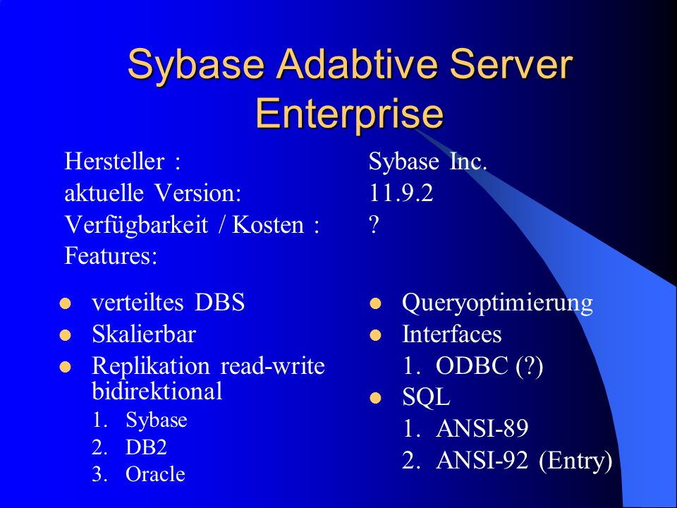 Sybase Adabtive Server Enterprise