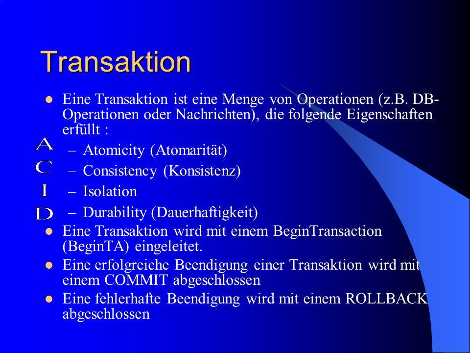 TransaktionEine Transaktion ist eine Menge von Operationen (z.B. DB-Operationen oder Nachrichten), die folgende Eigenschaften erfüllt :