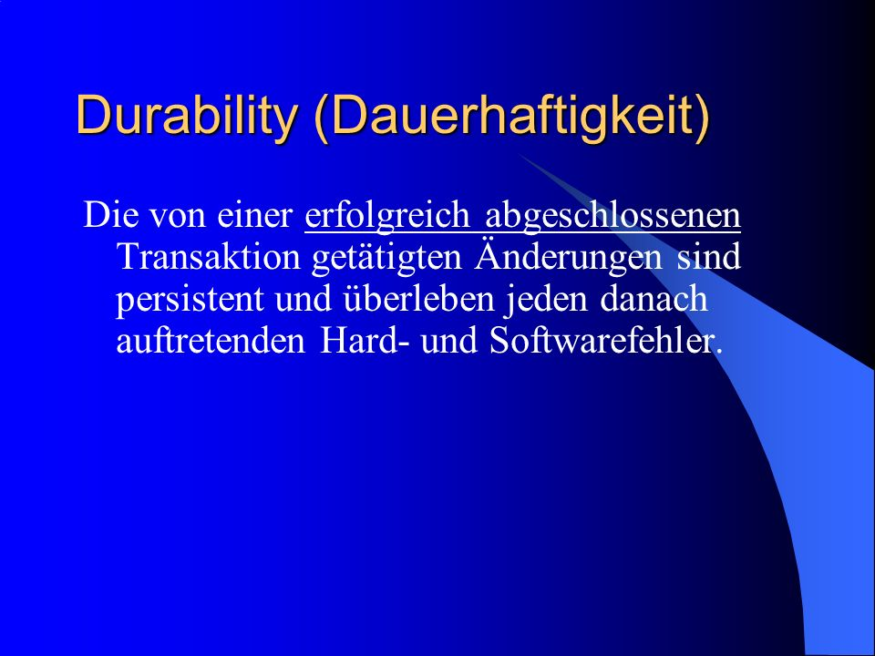 Durability (Dauerhaftigkeit)