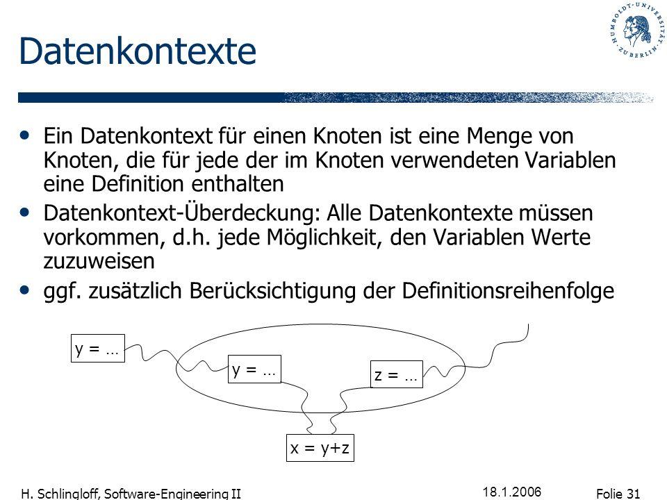 DatenkontexteEin Datenkontext für einen Knoten ist eine Menge von Knoten, die für jede der im Knoten verwendeten Variablen eine Definition enthalten.