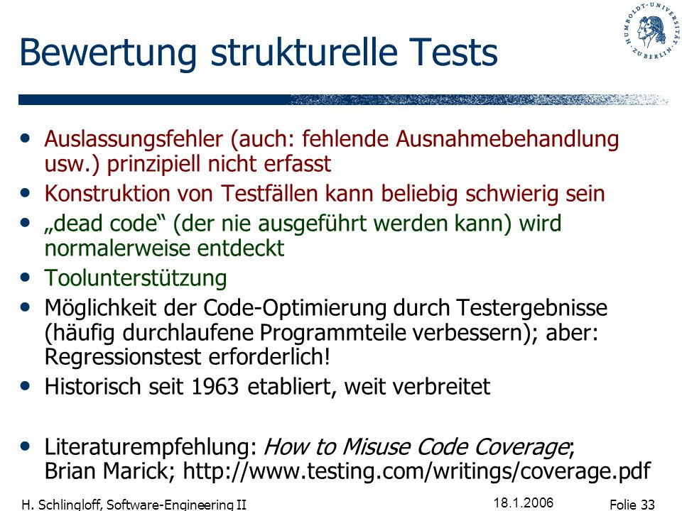 Bewertung strukturelle Tests