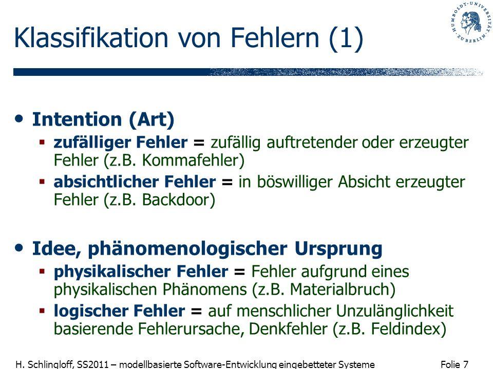 Klassifikation von Fehlern (1)