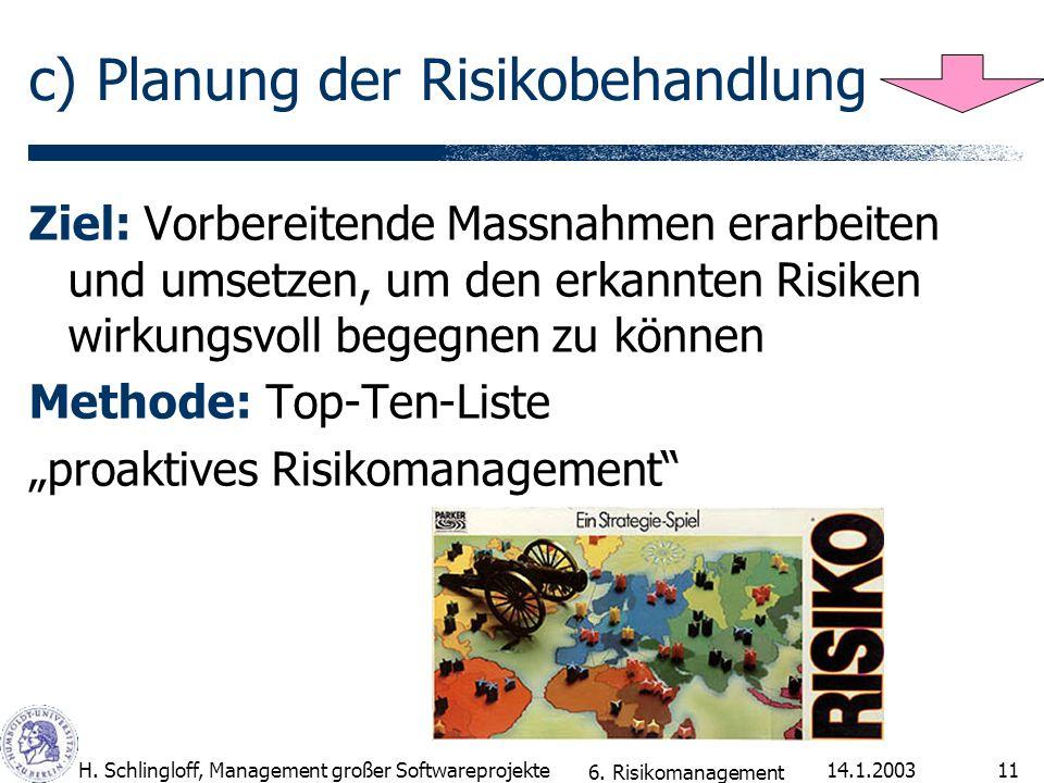 c) Planung der Risikobehandlung