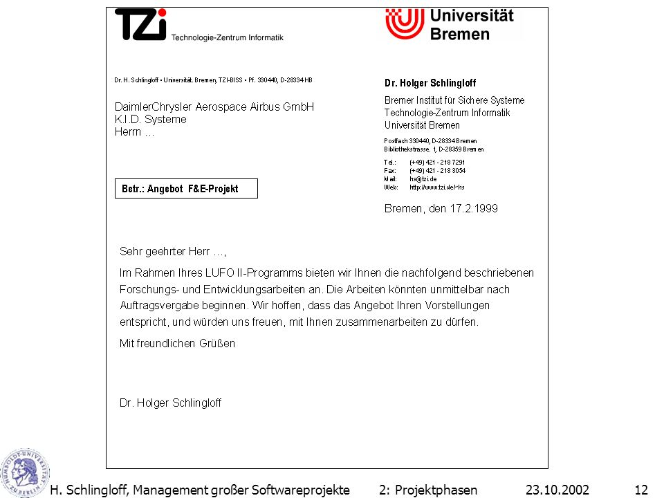 H. Schlingloff, Management großer Softwareprojekte