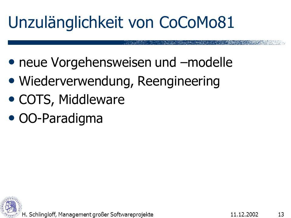 Unzulänglichkeit von CoCoMo81