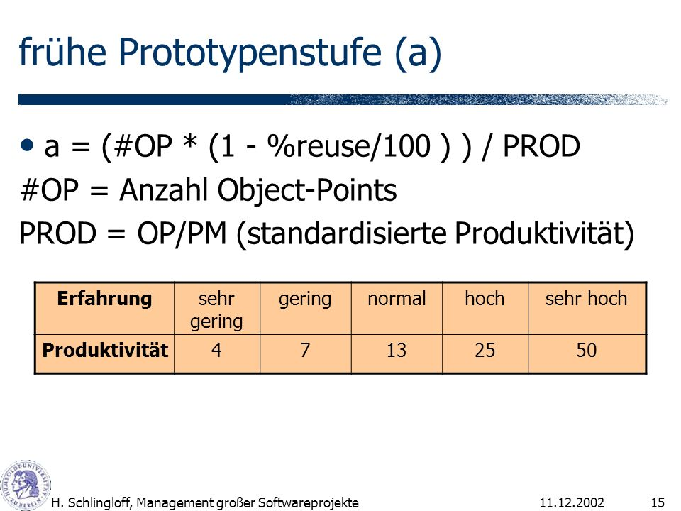 frühe Prototypenstufe (a)