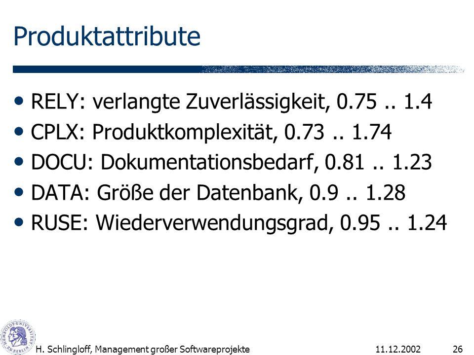 Produktattribute RELY: verlangte Zuverlässigkeit, 0.75 .. 1.4