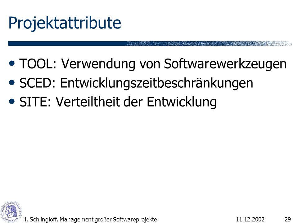 Projektattribute TOOL: Verwendung von Softwarewerkzeugen
