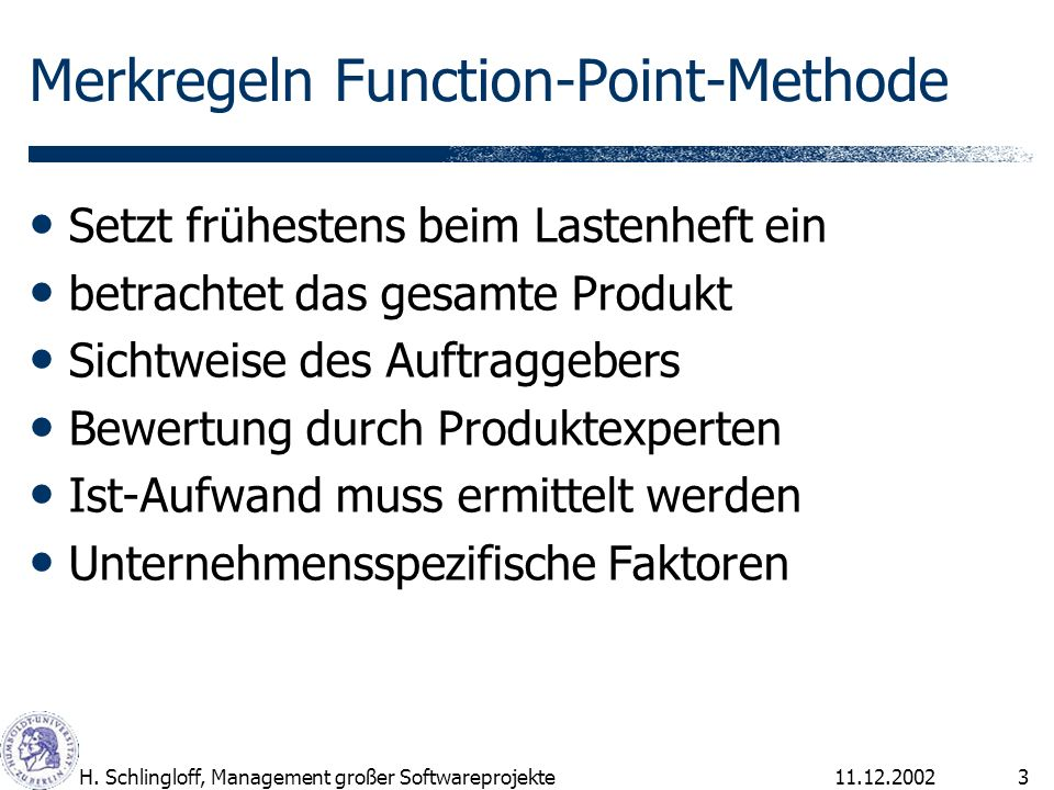 Merkregeln Function-Point-Methode