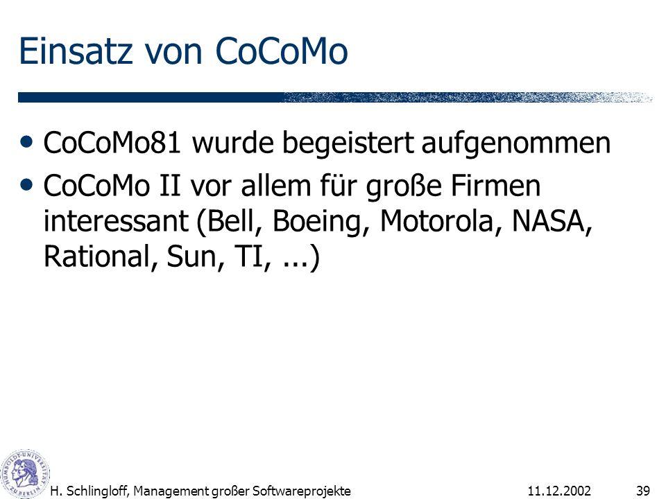 Einsatz von CoCoMo CoCoMo81 wurde begeistert aufgenommen