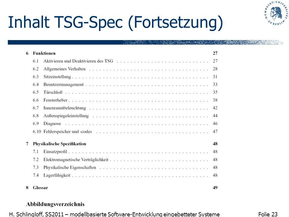 Inhalt TSG-Spec (Fortsetzung)