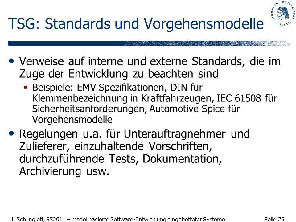 TSG: Standards und Vorgehensmodelle