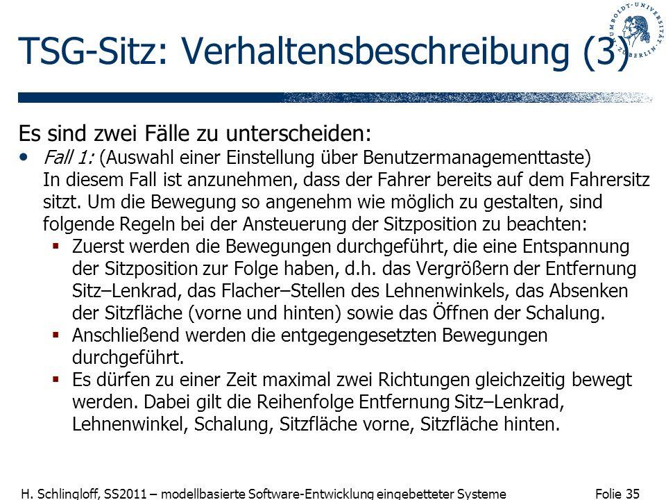 TSG-Sitz: Verhaltensbeschreibung (3)
