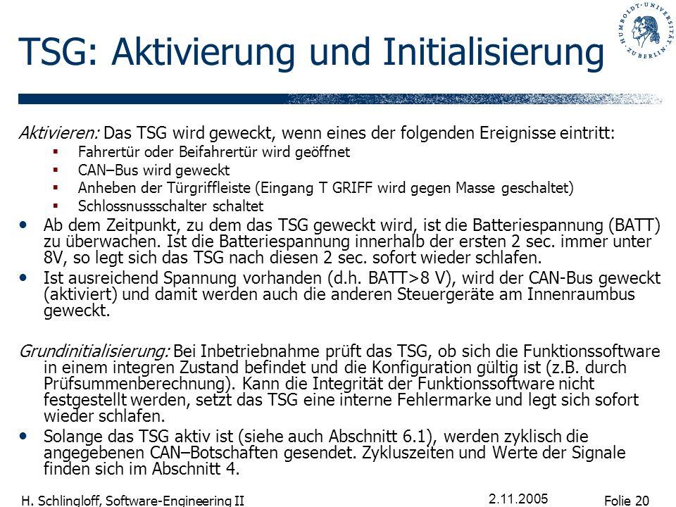 TSG: Aktivierung und Initialisierung