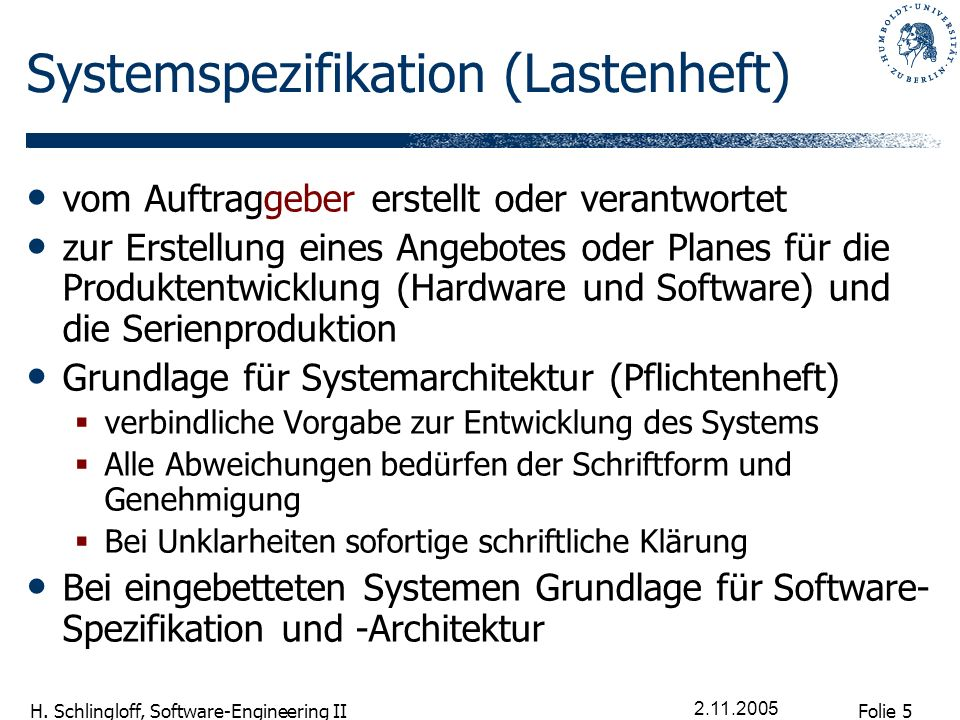 Systemspezifikation (Lastenheft)
