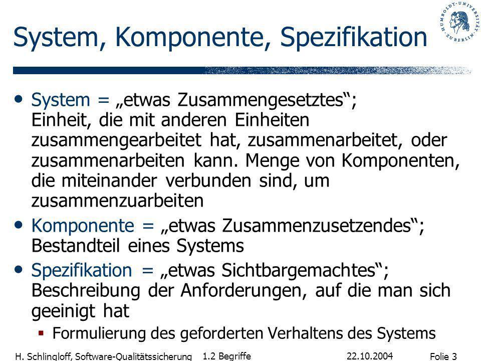 System, Komponente, Spezifikation