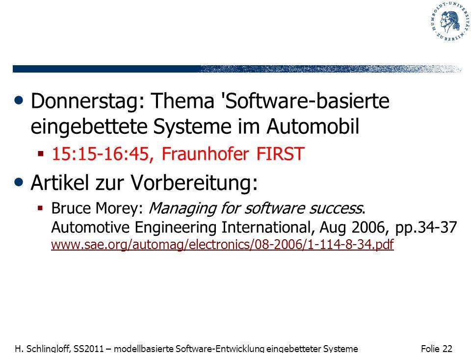 Donnerstag: Thema Software-basierte eingebettete Systeme im Automobil