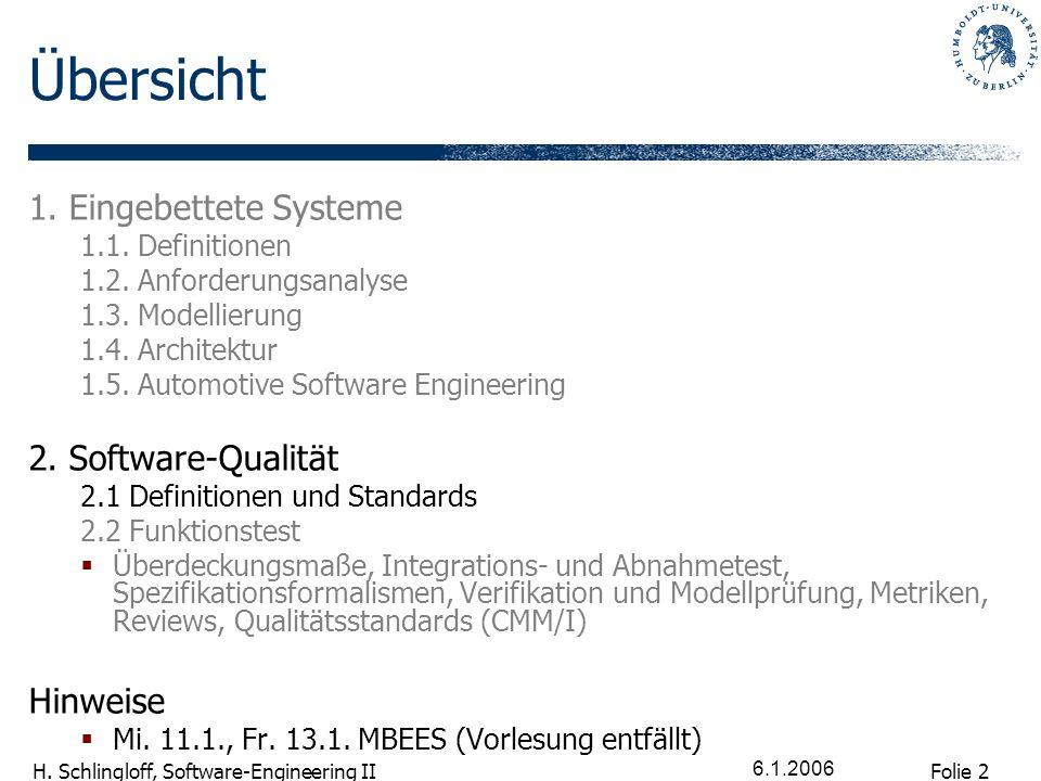 Übersicht 1. Eingebettete Systeme 2. Software-Qualität Hinweise