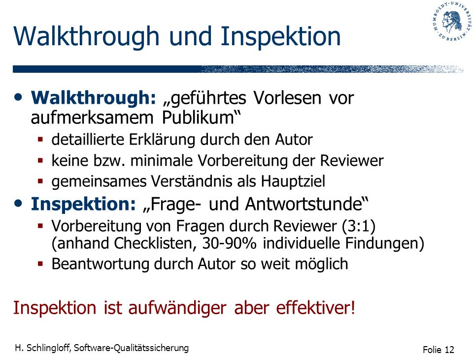 Walkthrough und Inspektion