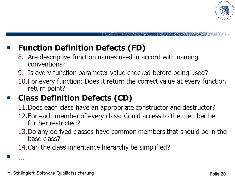 Function Definition Defects (FD)