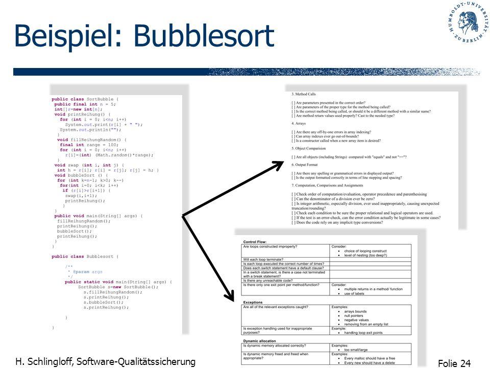 Beispiel: Bubblesort