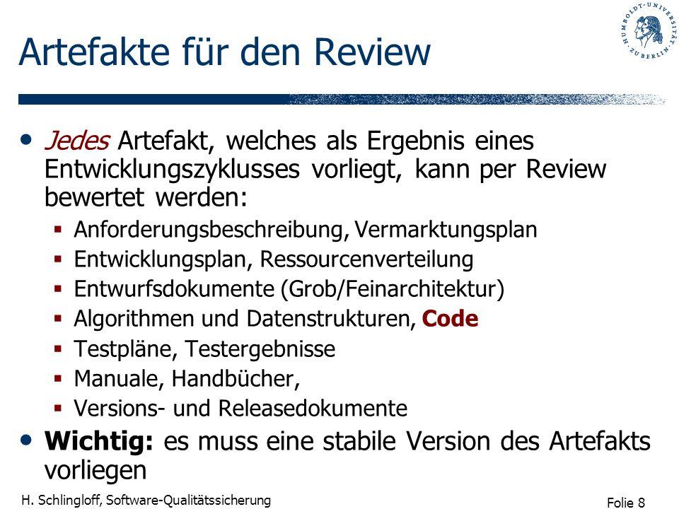Artefakte für den Review