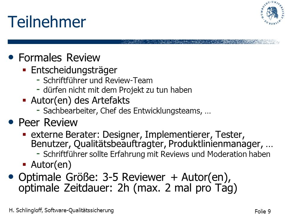 Teilnehmer Formales Review Peer Review