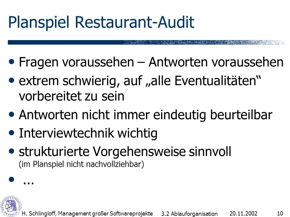 Planspiel Restaurant-Audit