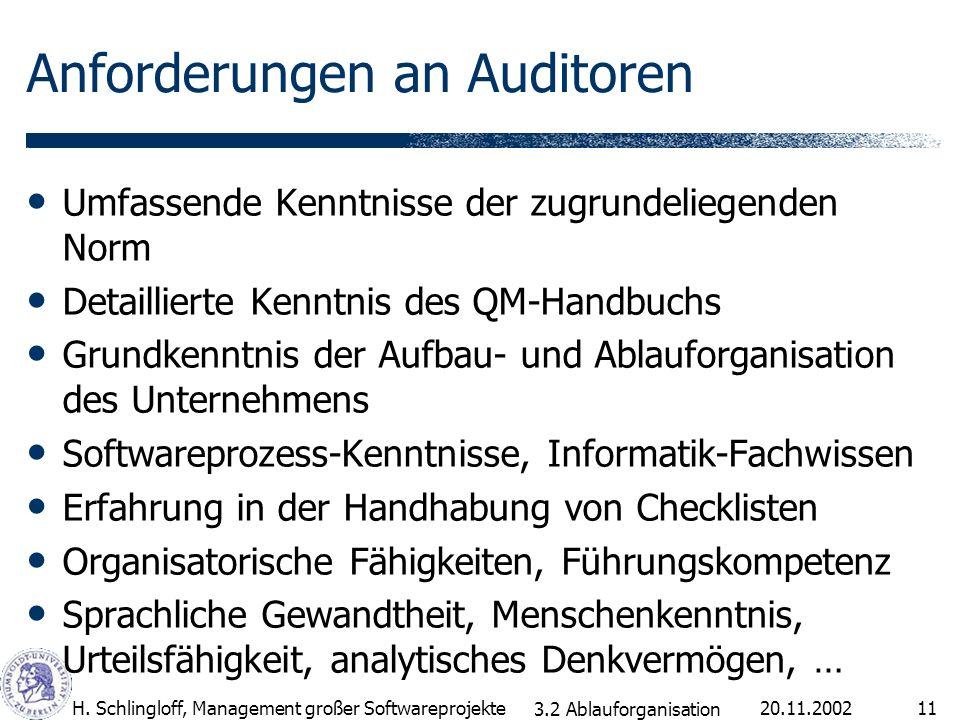 Anforderungen an Auditoren