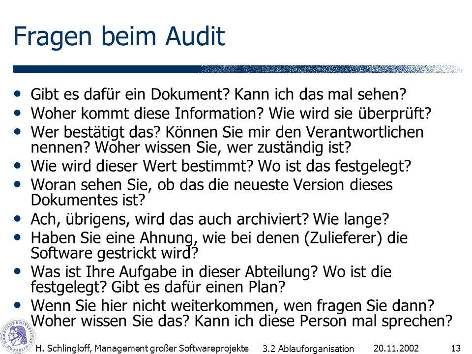Fragen beim Audit Gibt es dafür ein Dokument Kann ich das mal sehen
