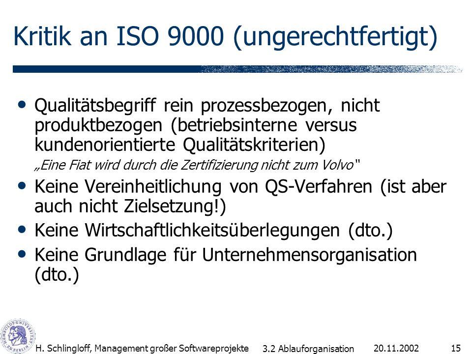 Kritik an ISO 9000 (ungerechtfertigt)