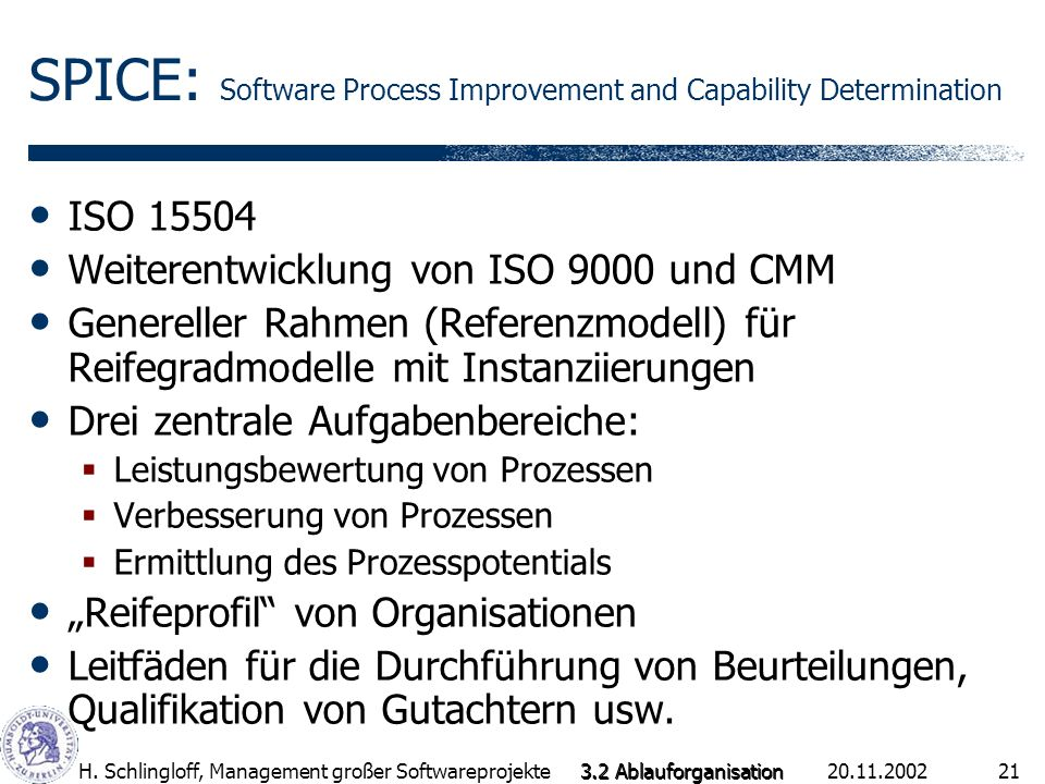 SPICE: Software Process Improvement and Capability Determination