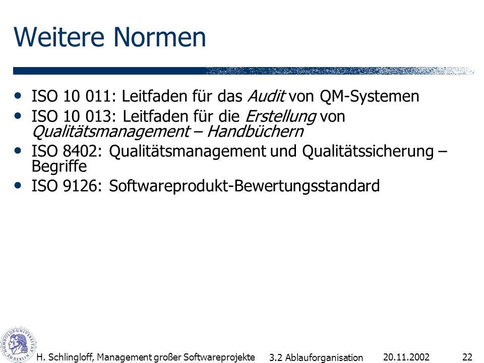 Weitere Normen ISO 10 011: Leitfaden für das Audit von QM-Systemen