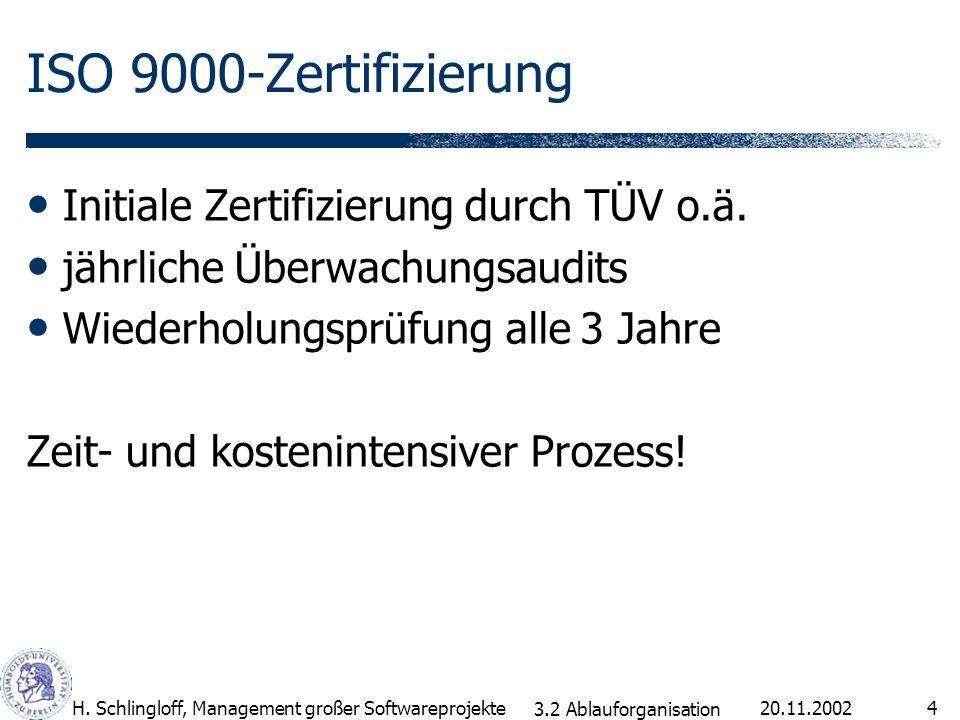 ISO 9000-Zertifizierung Initiale Zertifizierung durch TÜV o.ä.