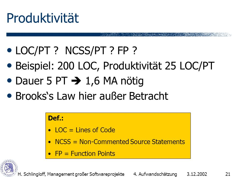 Produktivität LOC/PT NCSS/PT FP