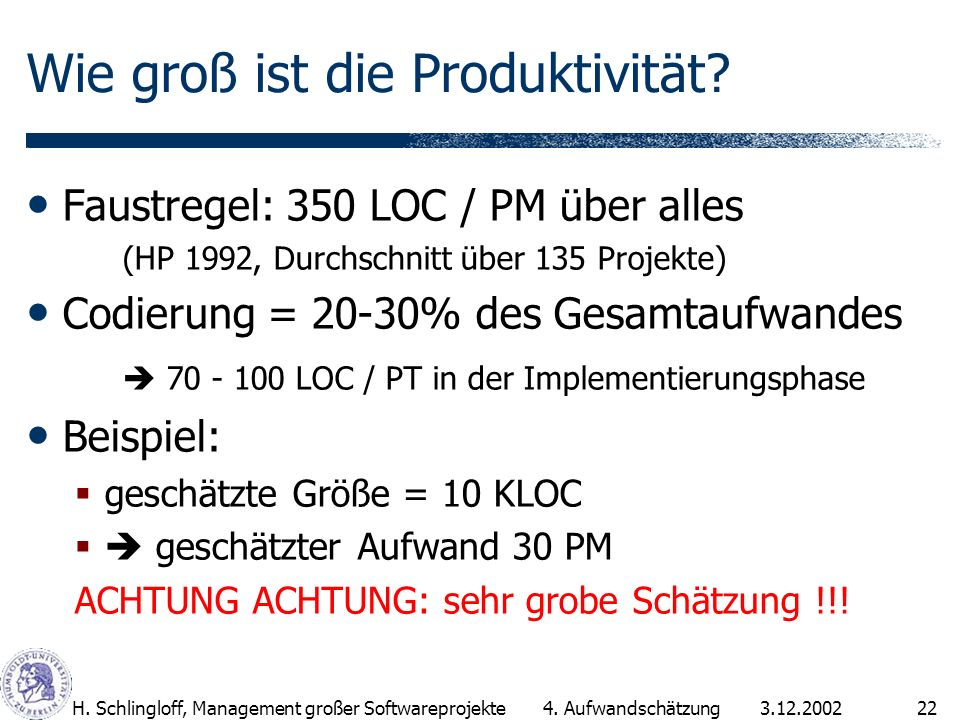 Wie groß ist die Produktivität