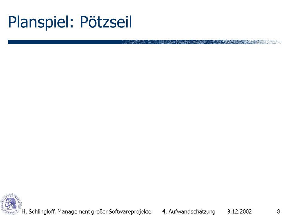 Planspiel: Pötzseil H. Schlingloff, Management großer Softwareprojekte