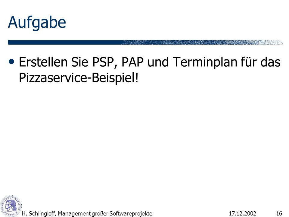 Aufgabe Erstellen Sie PSP, PAP und Terminplan für das Pizzaservice-Beispiel! H. Schlingloff, Management großer Softwareprojekte.