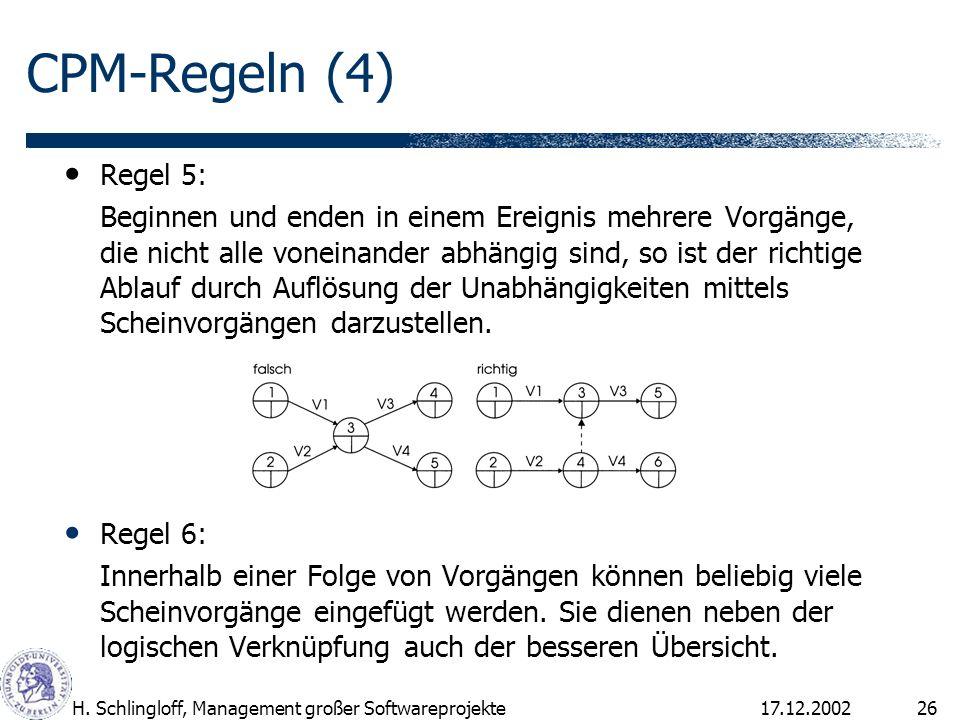 CPM-Regeln (4)Regel 5: