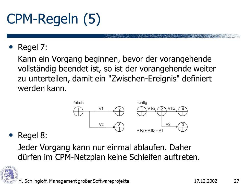 CPM-Regeln (5) Regel 7: