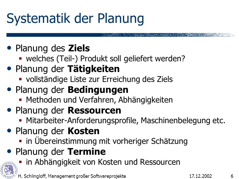 Systematik der Planung