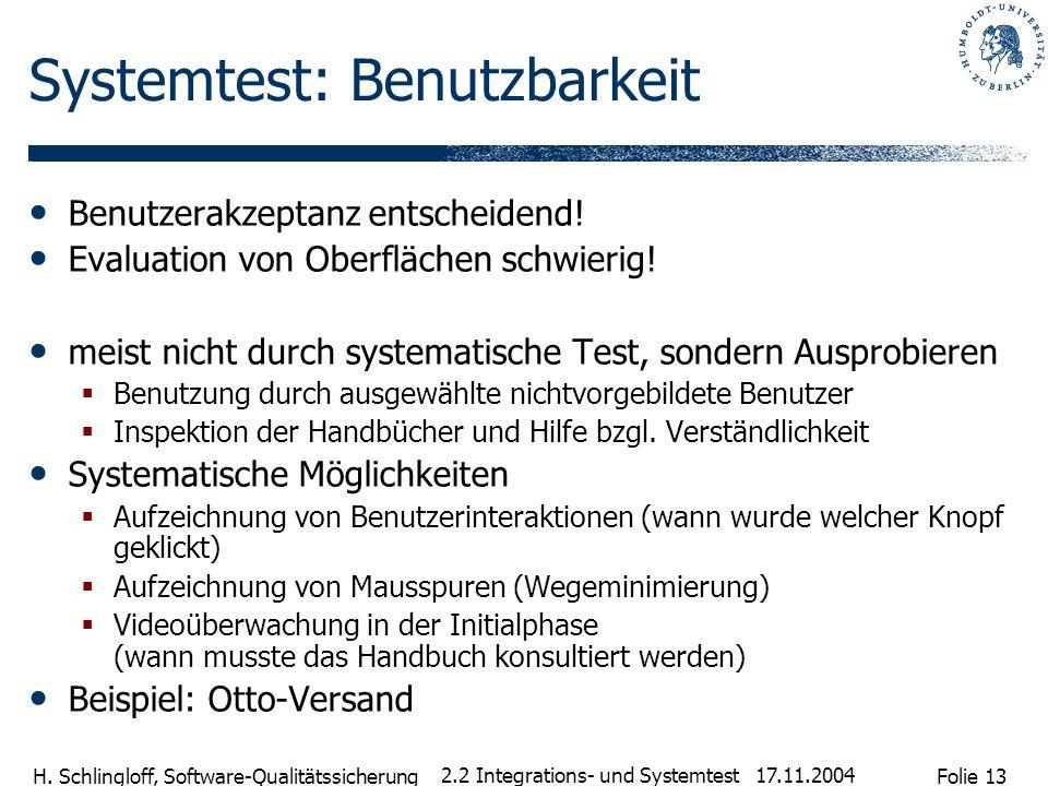 Systemtest: Benutzbarkeit
