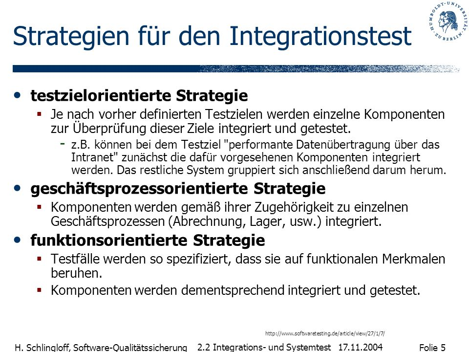 Strategien für den Integrationstest